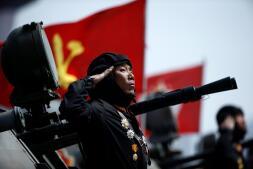 Despliegue mililtar de Corea del Norte por el Día del Sol
