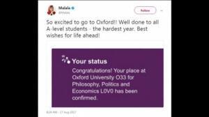 Malala, la ganadora más joven del Nobel de la Paz estudiará en la Universidad de Oxford