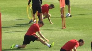 Último entrenamiento del Atlético antes de poner rumbo a Bilbao
