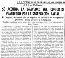 Diario ABC el 24 de febrero de 1956: «Se acentúa la gravedad del conflicto»